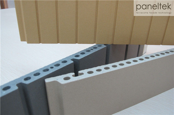 Textured / Lined Ceramic Wall Cladding Tiles , External Wall Insulation Cladding